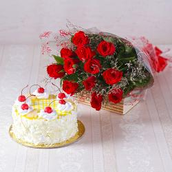 Dozen Red Roses with Half Kg Pineapple Cake