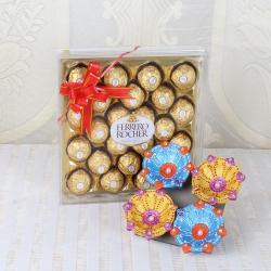 Earthen Diya and Ferrero Rocher Chocolate