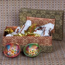 Earthen Diya with Miniature Toblerone Chocolate