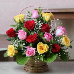 Exclusive Arrangement of Mix Roses in a Basket