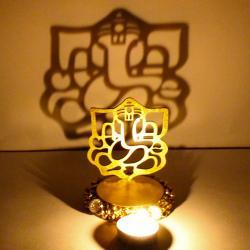 Exclusive Shadow Diya Tealight Candle Holder of Removable Ganesha Idol
