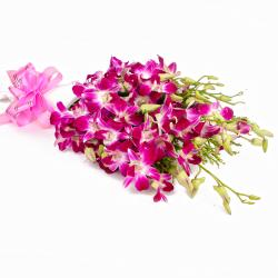 Exotic Bouquet of 10 Purple Orchids with Tissue Wrapping