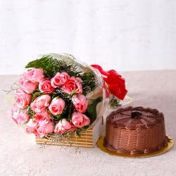 Fifteen Pink Roses with Chocolate Cake
