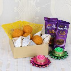Floating Diya with Assorted Sweets and Silk Chocolate
