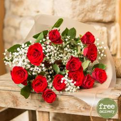Fresh Red Roses Bunch