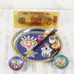 Ganesha Diwali Thali and Earthen Diya with Gold Plated Lakshmi Note