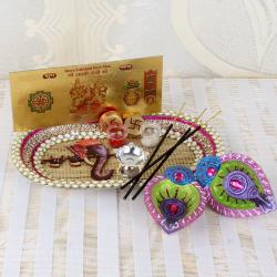 Ganesha Thali with Earthen Diya and Lakshmi Note