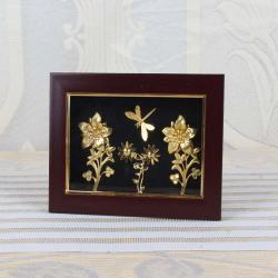 Gold Plated Butterfly with Flowers Designer Table Top Frame