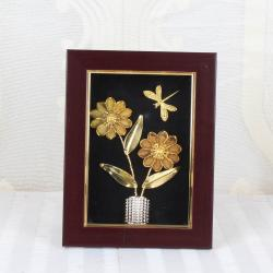 Gold Plated Flowers Vase with Butterfly Table Top Frame