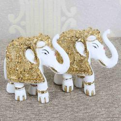 Gold Plated Royal White Elephants Decorative Showpiece