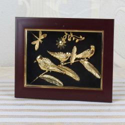 Gold Plated Three Birds with Butterfly Designer Table Top Frame