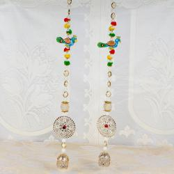 Golden Pearl String Parrot Design Long Diwali Door Hanging
