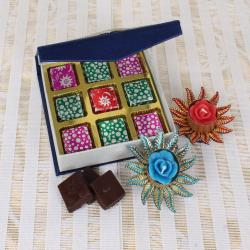 Home Made Chocolates with Designer Diyas