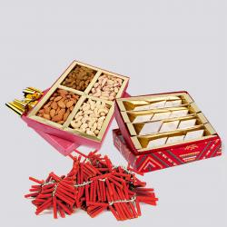 Kaju Katli Sweet and Assorted Dryfruits and Red Firecrackers