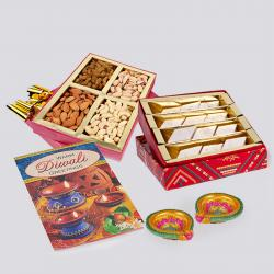 Kaju Katli Sweet and Assorted Dryfruits with Diwali Diya and Diwali Card