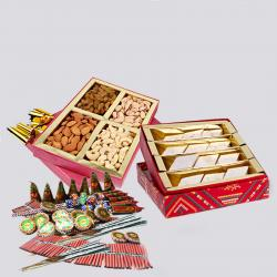 Kaju Katli Sweet and Assorted Dryfruits with Diwali Fire Cracker