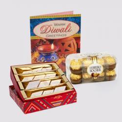 Kaju Katli Sweet with Ferrero Rocher Chocolates and Diwali Card