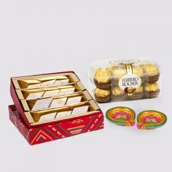 Kaju Katli Sweet with Ferrero Rocher Chocolates and Diwali Diya