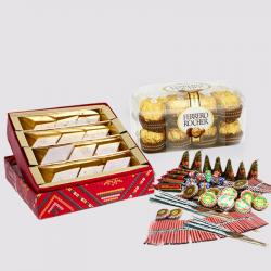 Kaju Katli Sweet with Ferrero Rocher Chocolates and Diwali Fire Cracker