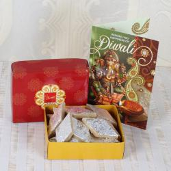 Kaju Katli Sweets with Diwali Greeting