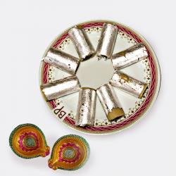 Kaju Roll with Diwali Diya