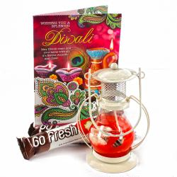 Lantern Diya Hamper with Diwali Card and Go Fresh Imported Chocolates
