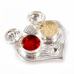 Leaf Shaped Small Silver Plated Tikka Container for Bhai Dhooj