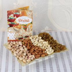 Mix Dry Fruits Tray with Diwali Greeting Card