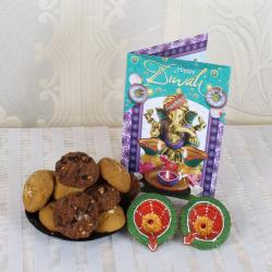 Mixed Cookies with Earthen Diya and Greeting Card