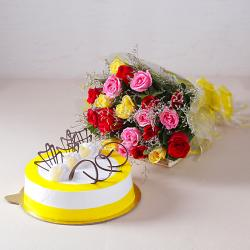 Multi Color 20 Roses with Half Kg Pineapple Cake