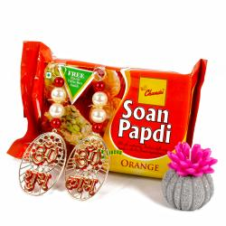 Orange Soan Papdi with Shubh Labh Hanging and Wax Candle
