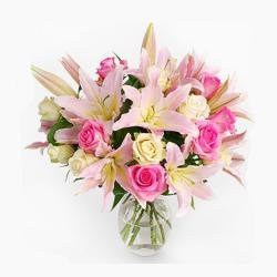 Pastel Colored Flowers Vase