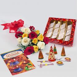 Roses, Kaju Katli and Crackers for Diwali Gift