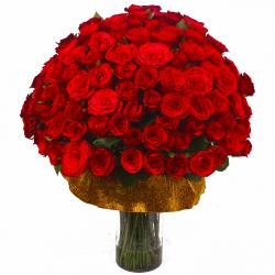 Seventy Five Red Roses in a Glass Vase
