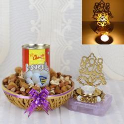 Shadow Diya with Rasgulla Sweets and Dry Fruits Hamper