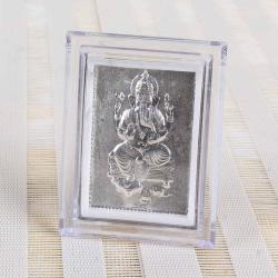 Silver Plated Lord Ganesha Table Top Frame