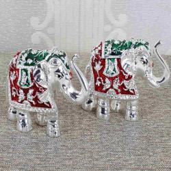 Silver Plated Royal Colorful Elephants Decorative Showpiece
