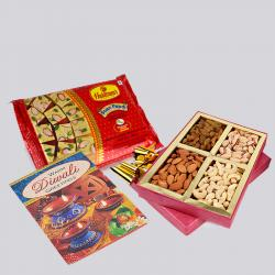 Soan Papdi and Assorted Dryfruits with Diwali Card