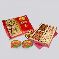 Soan Papdi and Assorted Dryfruits with Diwali Diya