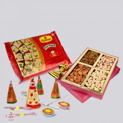 Soan Papdi and Assorted Dryfruits with Diwali Fire Cracker