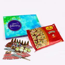 Soan Papdi and Celebration Chocolate Pack with Diwali Fire Crackers