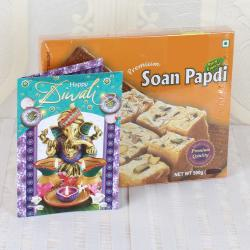 Soan Papdi Sweet with Diwali Greeting Card