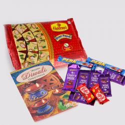 Soan Papdi with 10 Assorted Indian Chocolates Bar and Diwali Card