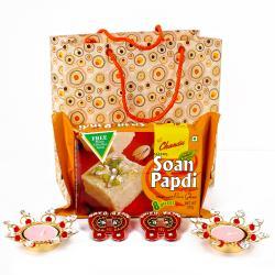 Soan Papdi with Diya Hamper packed in Paper Bag