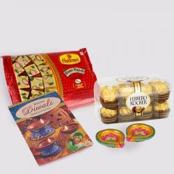 Soan Papdi with Ferrero Rocher Chocolates and Diwali Diya and Diwali Card