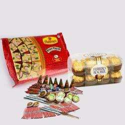 Soan Papdi with Ferrero Rocher Chocolates and Diwali Fire Cracker