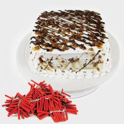 Square Butterscotch Cake with Diwali Crackers