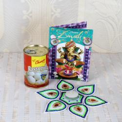 Stunning Rangoli with Rasgulla Sweets and Diwali Card