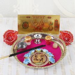 Swastika Diwali Thali and Earthen Diya with Gold Plated Lakshmi Note
