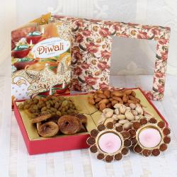 Tea light Diya with Dry Fruits and Diwali Card
